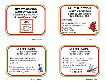 MULTIPLICATION WORD PROBLEMS - Fun, Silly Insect Theme     Grades 4-5 MATH