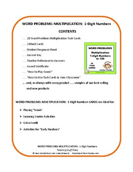 MULTIPLICATION WORD PROBLEMS Multiply to 100  ANIMALS  Core Grade 3 MATH