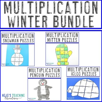 MULTIPLICATION Winter Activities - FUN Snowman, Mitten, Penguin, & Igloo Puzzles