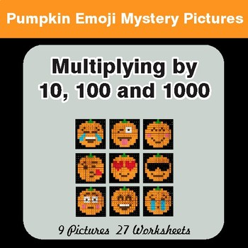 MULTIPLICATION by 10, 100, 1000 - PUMPKIN EMOJI Math Mystery Pictures