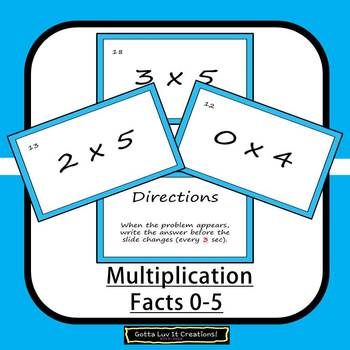 Editable Math Facts Multiplication 0-5 Fluency 2 PowerPoints