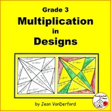 MULTIPLICATION | Color by Number Geometric Designs | Color-coded MATH Grade 3