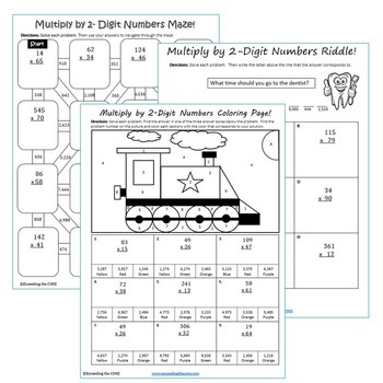 MULTIPLY BY 1-DIGIT & 2-DIGIT NUMBERS BUNDLE - Graphic Organizers & Puzzles