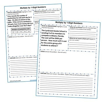MULTIPLICATION BY 1-DIGIT & 2-DIGIT NUMBERS Graphic Organizers & Puzzles BUNDLE