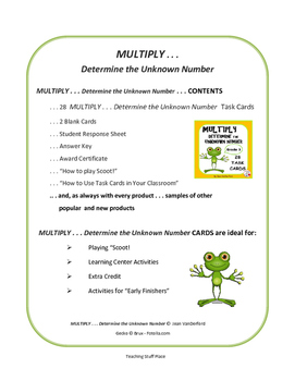 MULTIPLY | Determine Unknown Numbers | REVIEW | Task Cards | Gr 3 CORE Math