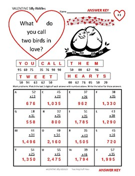 MULTIPLY  2-Digits by 2-Digits on VALENTINE ♥  Silly Riddles ♥ Grade 4 MATH