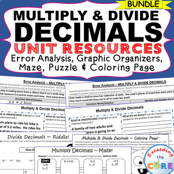 MULTIPLY AND DIVIDE DECIMALS BUNDLE Error Analysis, Graphic Organizers, Puzzles