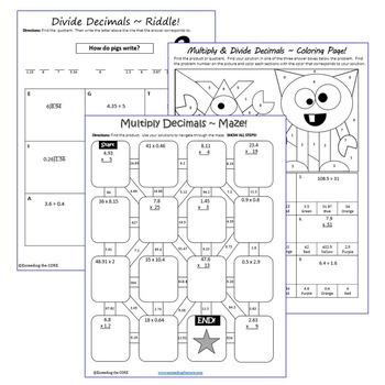 MULTIPLY AND DIVIDE DECIMALS BUNDLE Error Analysis, Graphic Organizers, Puzzles