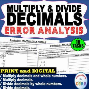 MULTIPLY AND DIVIDE DECIMALS  Error Analysis - Find the Error