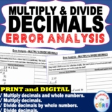 MULTIPLY AND DIVIDE DECIMALS  Error Analysis - Find the Error