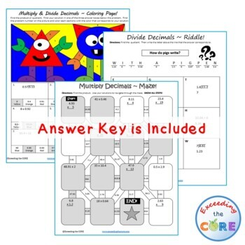 MULTIPLY AND DIVIDE DECIMALS Maze, Riddle, Color by Number (Fun MATH Activities)