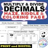 MULTIPLY & DIVIDE DECIMALS Maze, Riddle, Color by Number Page