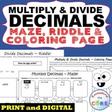 MULTIPLY AND DIVIDE DECIMALS Maze, Riddle, Color by Number