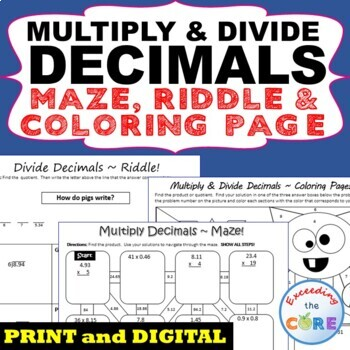 MULTIPLY AND DIVIDE DECIMALS Maze, Riddle, Coloring Page (