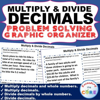 MULTIPLY AND DIVIDE DECIMALS Word Problems with Graphic Organizers