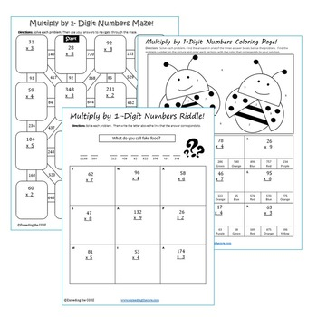 MULTIPLY BY 1-DIGIT NUMBERS Maze, Riddle, Coloring Page (Fun MATH Activities)