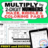 MULTIPLICATION by 2-DIGIT NUMBERS Maze, Riddle, Coloring Page   Print & Digital