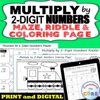 MULTIPLY BY 2-DIGIT NUMBERS Maze, Riddle, Coloring Page (F
