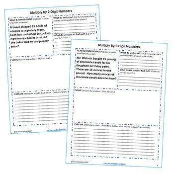 MULTIPLY BY 2-DIGIT NUMBERS Word Problems with Graphic Organizers