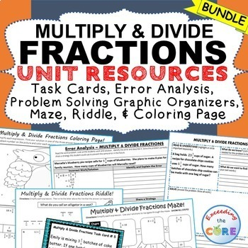 MULTIPLY & DIVIDE FRACTIONS BUNDLE Task Cards, Error Analysis,Graphic Organizers