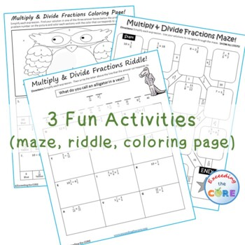MULTIPLY & DIVIDE FRACTIONS Maze, Riddle & Coloring Page (Fun MATH Activities)