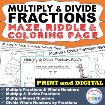 MULTIPLY & DIVIDE FRACTIONS Maze, Riddle, Color by Number Coloring Page  Activity