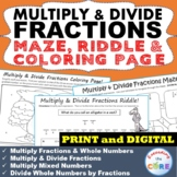 MULTIPLY & DIVIDE FRACTIONS Maze, Riddle, Coloring Page | PRINT AND DIGITAL