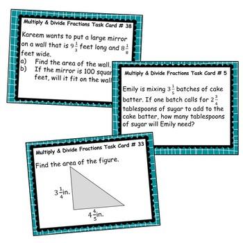 MULTIPLY & DIVIDE FRACTIONS Word Problems - Task Cards {40 Cards}