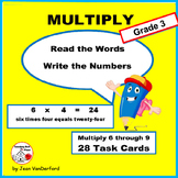 MULTIPLICATION VOCABULARY | Words on TASK CARDS | FACTS | CORE Gr 3 MATH