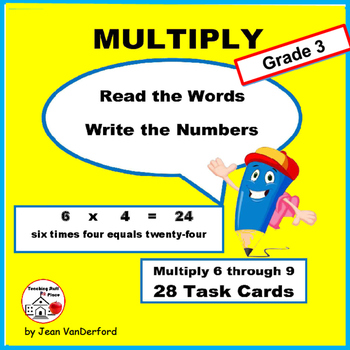 MULTIPLICATION VOCABULARY | Words on TASK CARDS | FACTS |