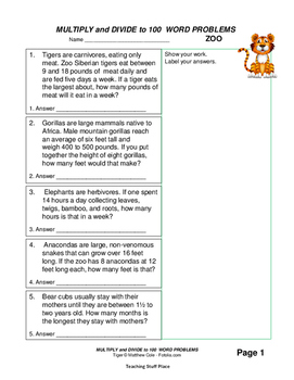 MULTIPLY and DIVIDE to 100 | Animal FACTS | WORD PROBLEMS | CORE Gr 3 MATH