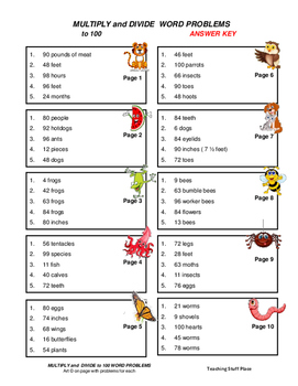MULTIPLY and DIVIDE to 100   Animal FACTS   WORD PROBLEMS   CORE Gr 3 MATH