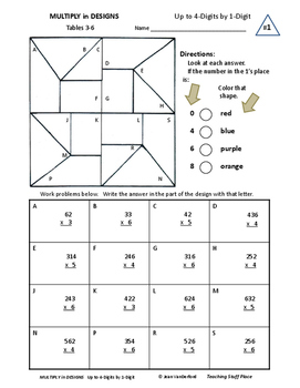 MULTIPLICATION | MULTIPLY to 4-Digits | COLOR GEOMETRIC | Gr 4-5 CORE MATH