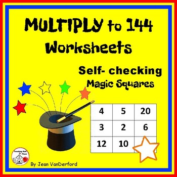 MULTIPLY to 144 Worksheets ... Magic Squares ... Self-chec