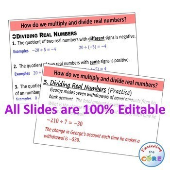 MULTIPLY AND DIVIDE REAL NUMBERS PowerPoint Mini-Lesson & Guided Practice