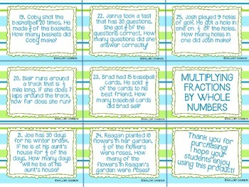 MULTIPLYING FRACTION BY WHOLE NUMBER TASK CARDS