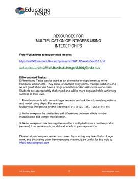 MULTIPLYING INTEGERS USING INTEGER CHIPS