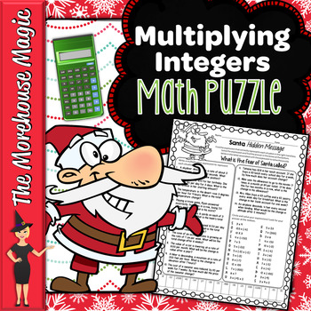 MULTIPLYING INTEGERS WORD PROBLEMS COMMON CORE MATH PUZZLE, HOLIDAY MATH