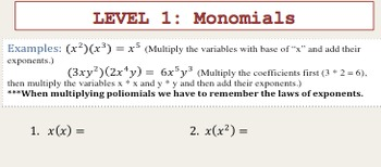 MULTIPLYING POLYNOMIALS 5 LEVELS = 5 ASSIGNMENTS