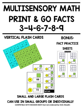 multisensory multiplication print and go math facts - 3, 4, 6, 7, 8, 9