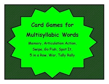MULTISYLLABIC Make & Take Card Games, SPEECH THERAPY Articulation