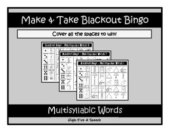 MULTISYLLABIC Words Blackout Bingo, SPEECH THERAPY, Articulation