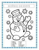 MUÑECO DE NIEVE - Color by Number in Spanish- Winter Themed