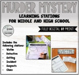 MURDER MYSTERY WRITING STATIONS FOR MIDDLE AND HIGH SCHOOL