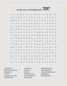 MUSEUM DAY- SEPTEMBER 28TH/ WORD SEARCH-