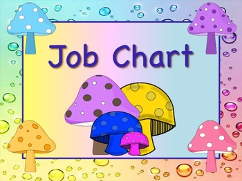 MUSHROOM Theme Job Chart Cards / Signs - Great for Classroom Management!