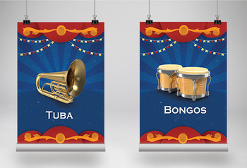 MUSIC: 40 Musical Instrument Posters - Circus Theme [8.5x11]