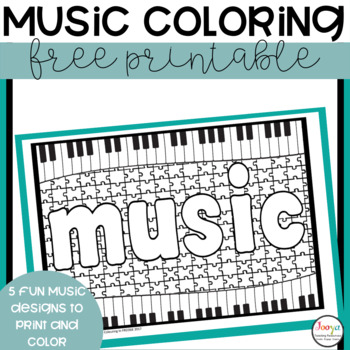 MUSIC- 5 FREE Music Colouring Pages