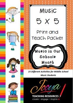 MUSIC - 5 x 5 Music Print and Teach Packet