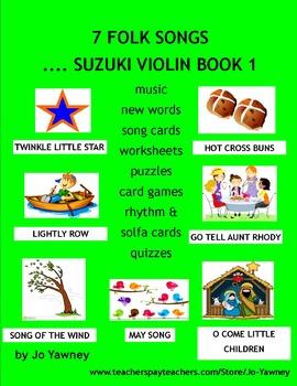 MUSIC: 7 FOLK SONGS...SUZUKI VIOLIN BOOK 1